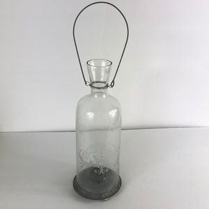 Glass Accent Decor Hanging Candle Lantern